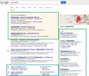 """Screenshot of Google search results for """"chiropractor."""""""
