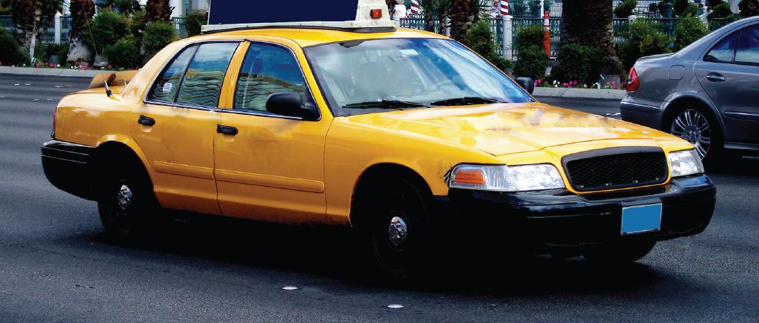 A taxi cab.