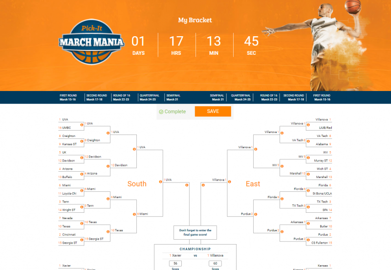 March Mania bracket view.