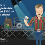Triangle Mobile Ad with cartoon graphic
